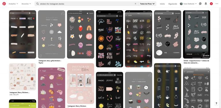 Stickers y Gifs para las historias de Instagram en pinterest